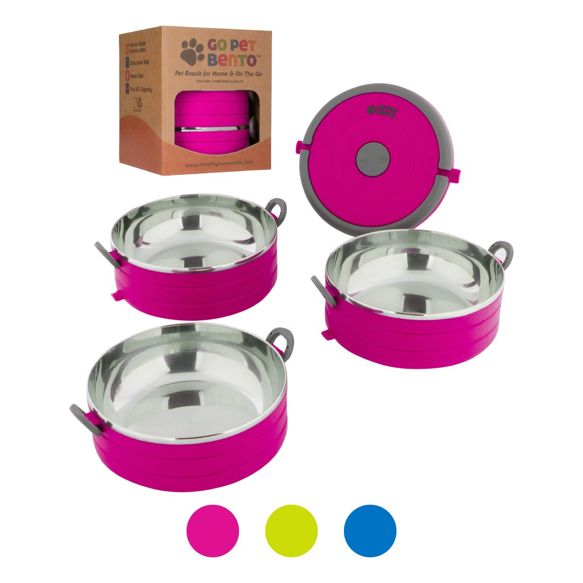Healthy Human Portable Dog & Pet Travel Bowls with Lid - Human Grade Stainless Steel - Ideal for Food & Water - Pink - 3 Bowl Set