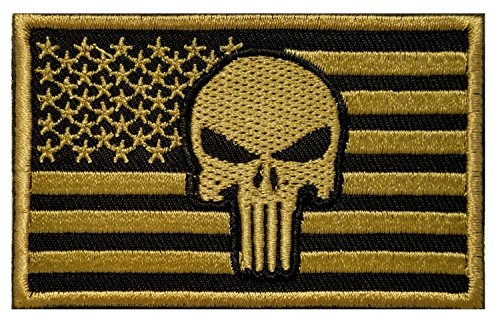 American Flag Morale Skull Punisher Patch / USA Patriotic Tactical Patch for Molle Backpacks, Hats, and Uniforms (AP Desert Gold, 2 x 3)