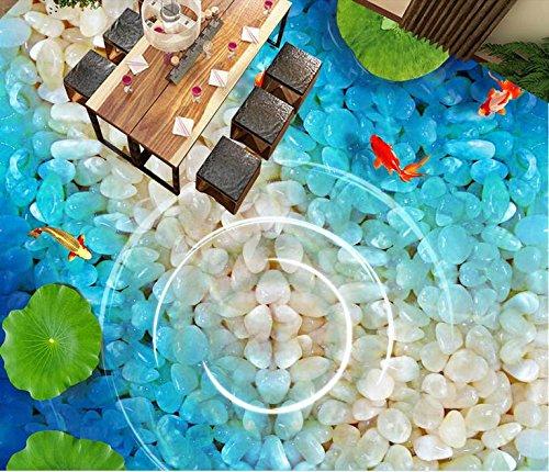 LWCX 3D Floor Board Custom Wallpaper Ponds 3D Floor Murals Water Proof Self Adhesive Floor Wallpaper PVC 200X140CM