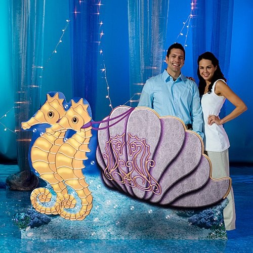 Atlantis Sea Ocean Seahorse Chariot Stand In Prop Standup Photo Booth Prop Background Backdrop Party Decoration Decor Scene Setter Cardboard Cutout