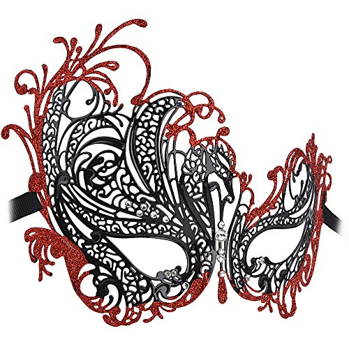 Coxeer Women's Swan Metal Filigree Laser Cut Venetian Masquerade Mask for Prom(Black & Red) (Ideas For Masquerade Masks)