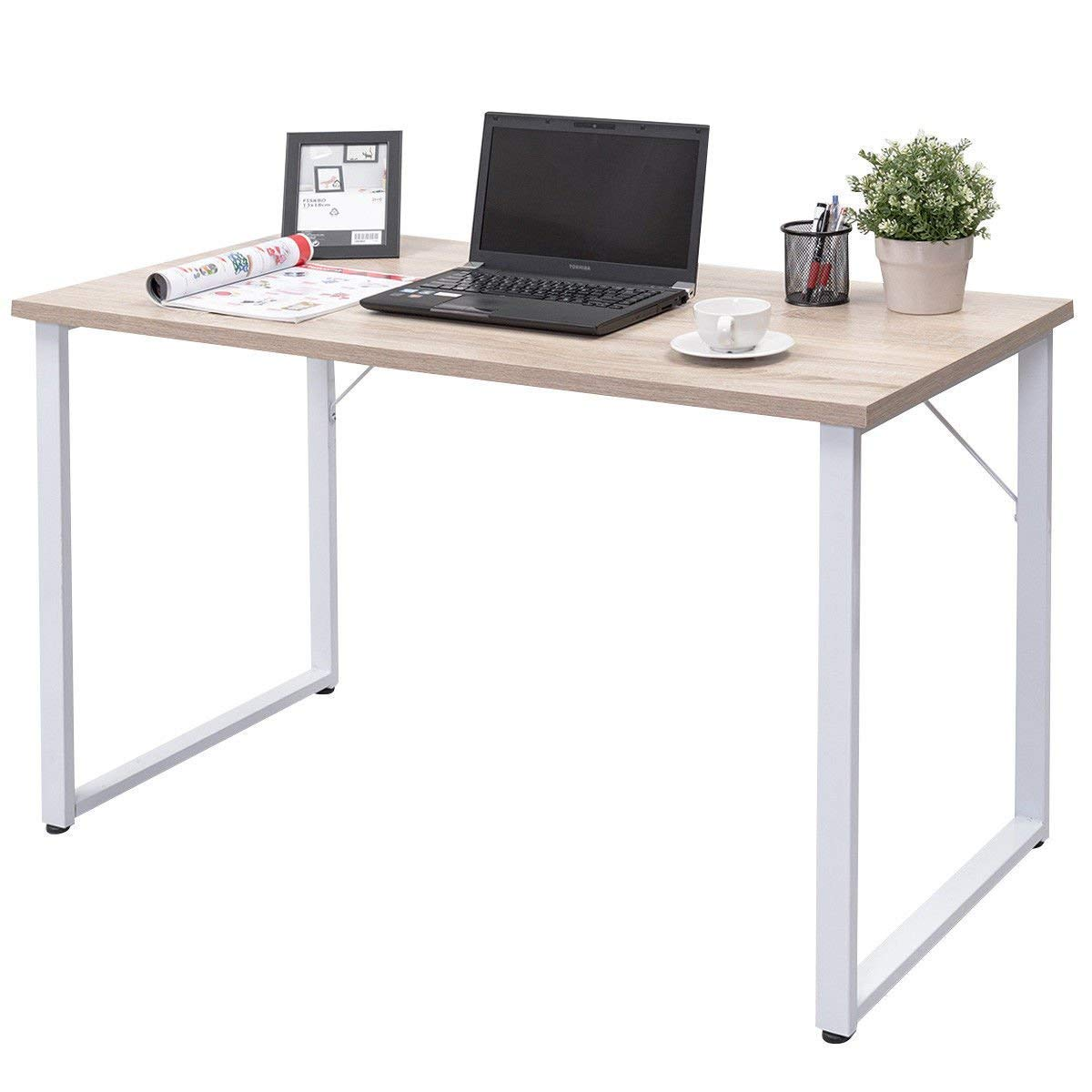 Tangkula writing table computer desk writing desk simple modern wood laptop table sturdy durable study table multi function workstation