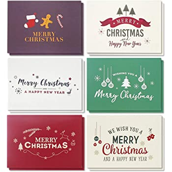 Amazon merry christmas greeting cards collection 24 cards 48 pack merry christmas greeting cards bulk box set winter holiday xmas greeting cards with retro modern designs envelopes included 4 x 6 inches m4hsunfo