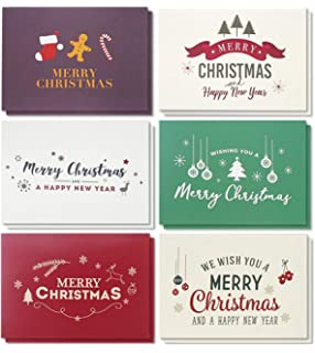 Amazon merry christmas greeting cards collection 24 cards 48 pack merry christmas greeting cards bulk box set winter holiday xmas greeting cards m4hsunfo