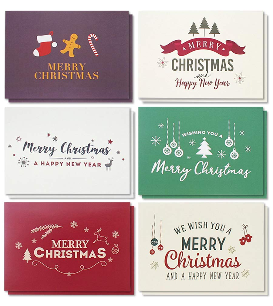 48,Pack Merry Christmas Greeting Cards Bulk Box Set , Winter Holiday Xmas  Greeting Cards with Retro Modern Designs, Envelopes Included, 4 x 6 Inches