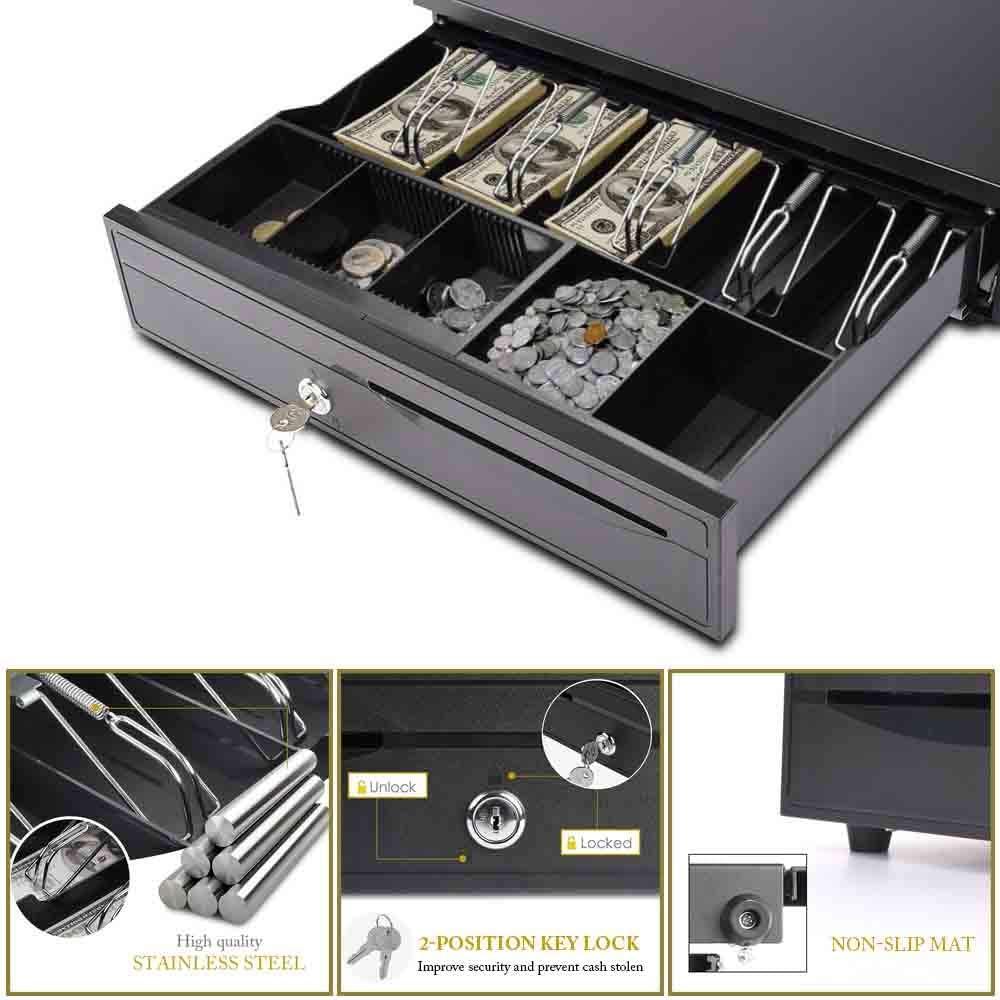 Commercial Use Compartment Cash Box for Shop Register Money Drawer POS Cash Drawer Black
