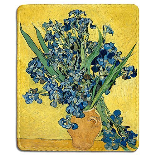 (dealzEpic - Art Mousepad - Natural Rubber Mouse Pad with Famous Fine Art Painting of Irises by Vincent Van Gogh - Stitched Edges - 9.5x7.9 inches)
