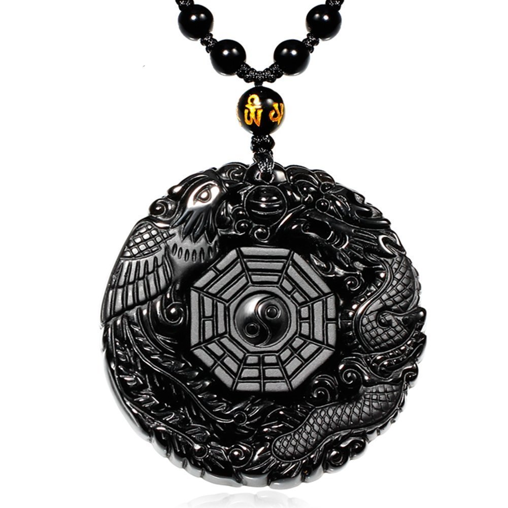 MOHICO Dragon Obsidian Pendant Necklace, Dragon and Phoenix Natural Obsidian Crystal Pendant Necklace Pattern with Extend Bead Chain for Men or Women Black Elegant Round SL001