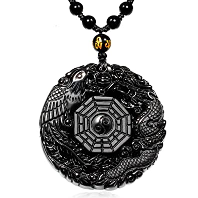 Mohico dragon obsidian pendant necklace dragon and phoenix natural mohico dragon obsidian pendant necklace dragon and phoenix natural obsidian crystal pendant necklace pattern with audiocablefo