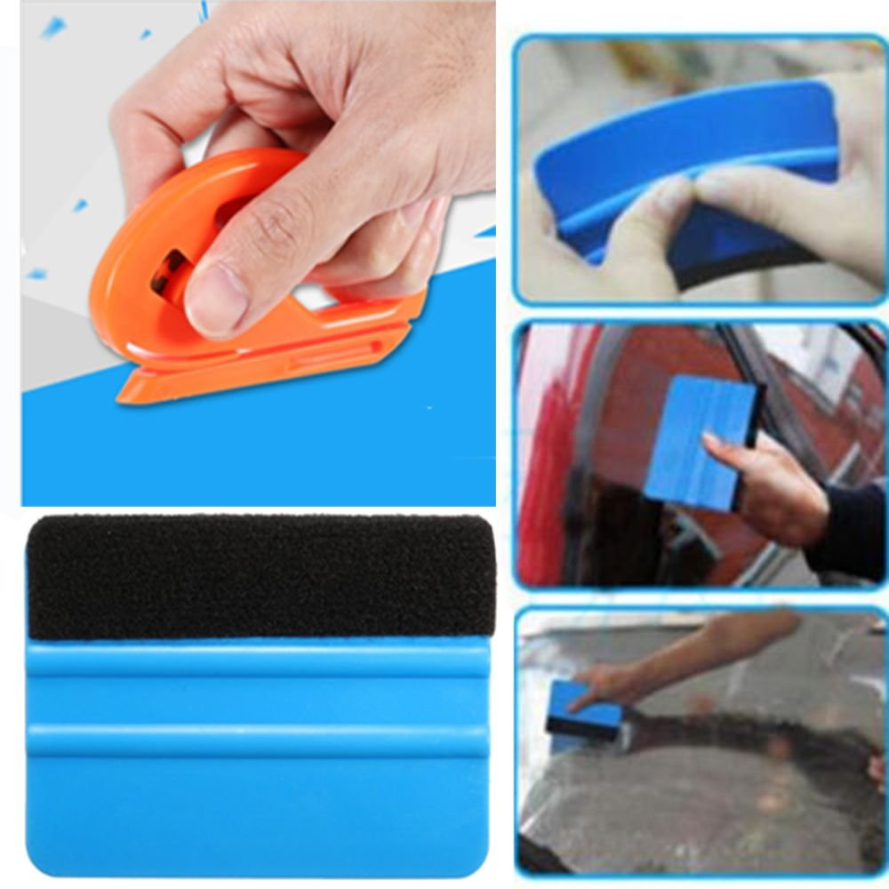 Vinyl Safety Cutter & Felt Edge Squeegee Scraper Car Wrapping Tools outopen
