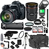 Canon EOS 6D Mark II With 24-70mm f/2.8 L IS II USM Lens + 128GB Memory + Canon Deluxe Camera Bag + Pro Battery Bundle + Power Grip + Microphone + TTL Speed Light + Pro Filters,(23pc Bundle)