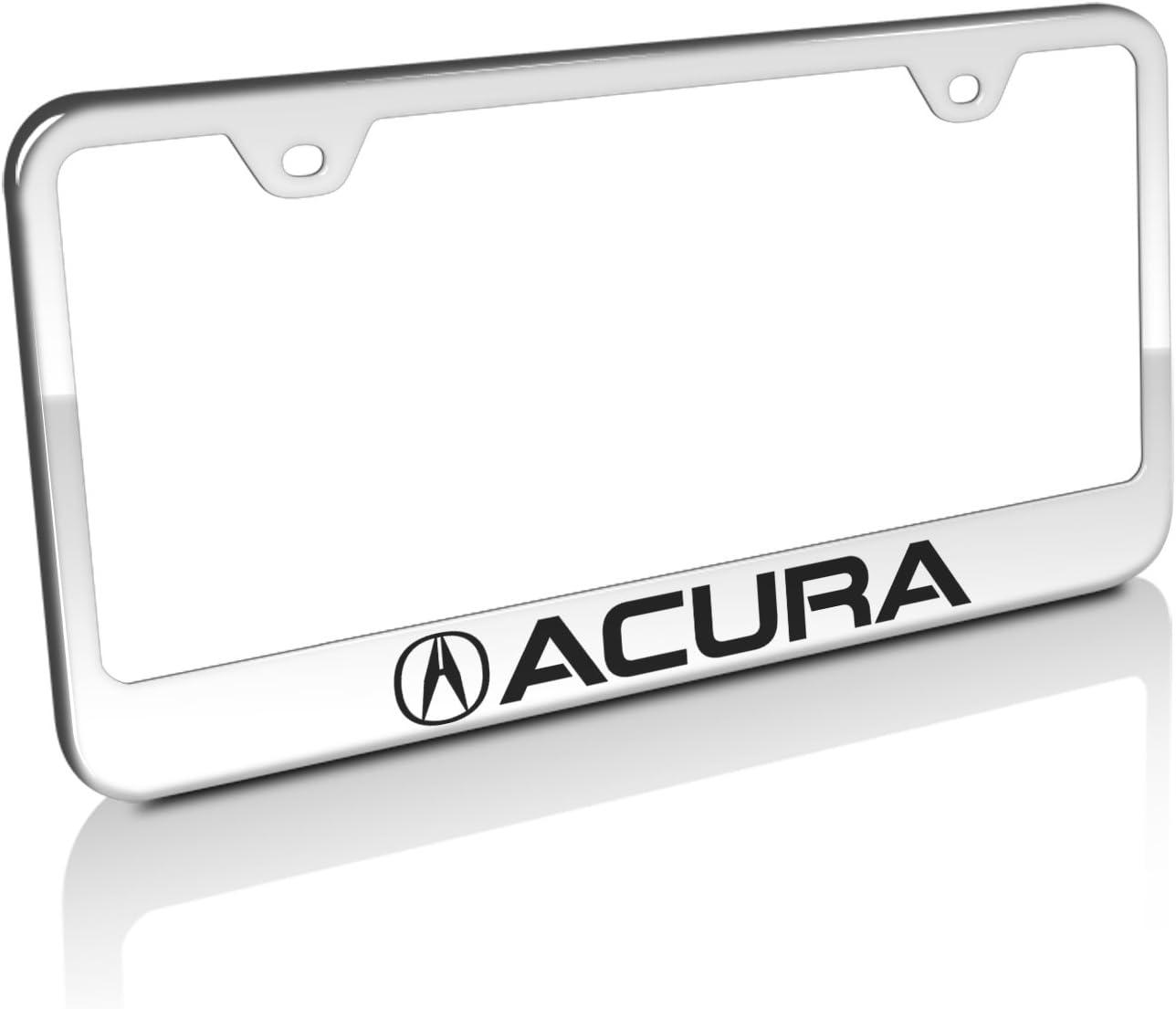 Acura license plate frame chrome metal carbon fiber details chrome text