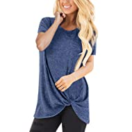 4069119178e Hurrybuy Women s Plus Size T-Shirt Short Sleeve Knot Twist Front Tunic Tops
