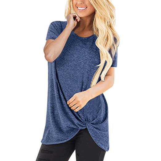 Qiqiu 2019 Women Solid Twist Knotted Tops Summer Casual Short Sleeve O Neck Top T  Shirt Blouses by Qiqiu Tops