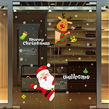 Qidiantrade Christmas Decorations Window Clings Decal Stickers Colorful Santa Claus Elk Thanksgiving Ornaments Party Supplies