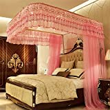 Royal- U-shaped Rails Fishing Rods Telescopic Mosquito Net Three-door Double Encryption Thickening Stainless Steel Bracket ( Color : Pink , Size : 1.8m (6 Feet) Bed )