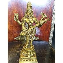 Saraswati Playing Veena Brass Statue 8 Inch
