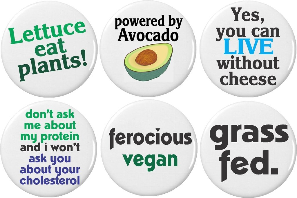 Set 6 Cute Funny Vegan Quotes Sayings 125 Magnets Lettuce Avocado Grass Fed