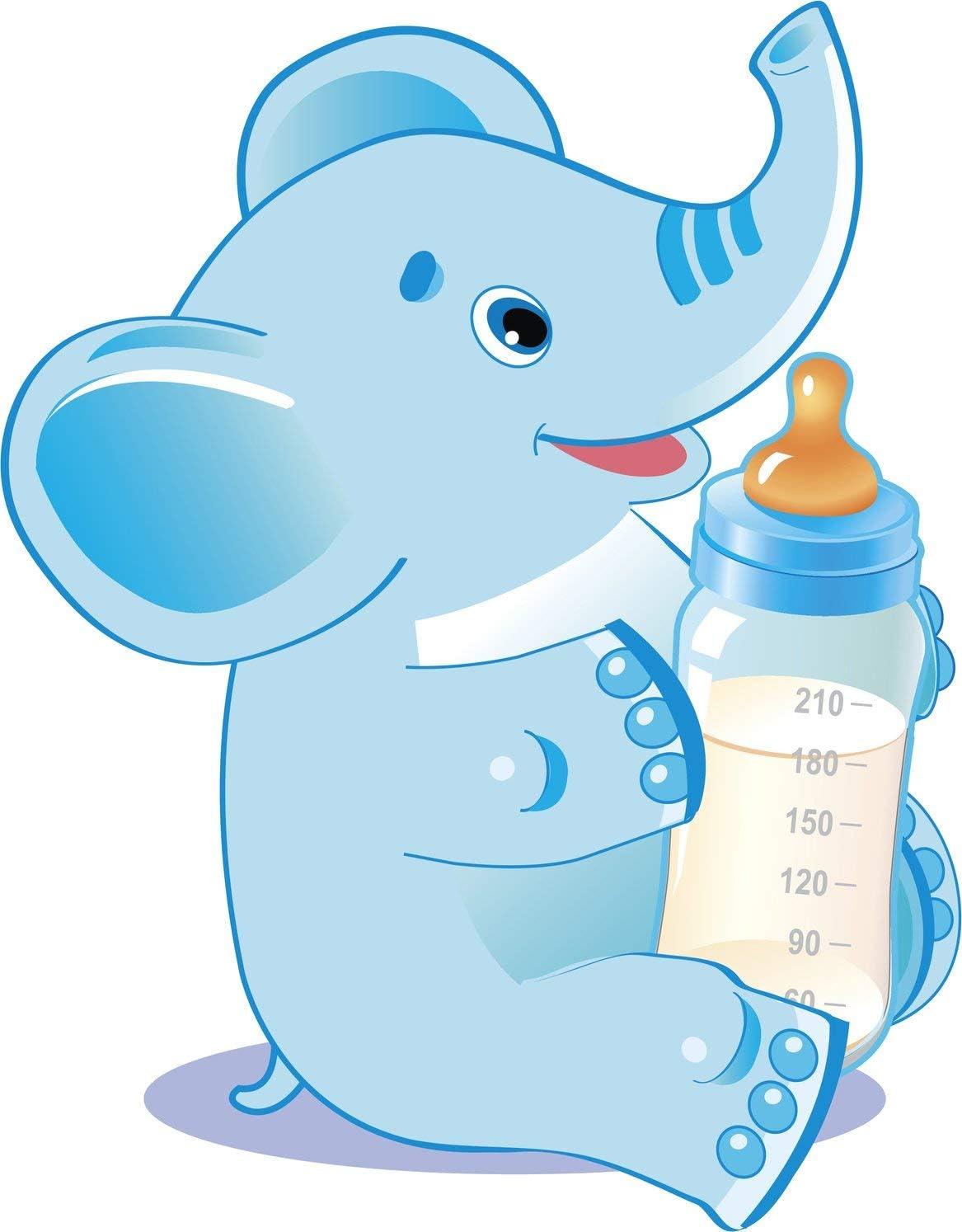 Amazon Com Cute Baby Gender Reveal Cartoon Animal With Milk Bottle Boy Elephant Blue Truck Car Bumper Sticker Vinyl Decal 5 Automotive