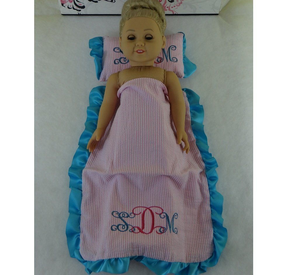 Monogrammed BEDDING SET 18 Doll Clothing