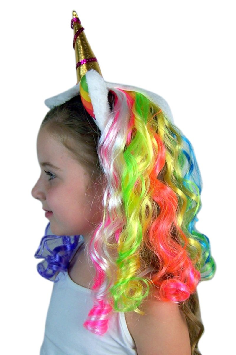Unicorn Horn Headband with Rainbow Mane, One Size Fits Most by Needzo (Image #1)