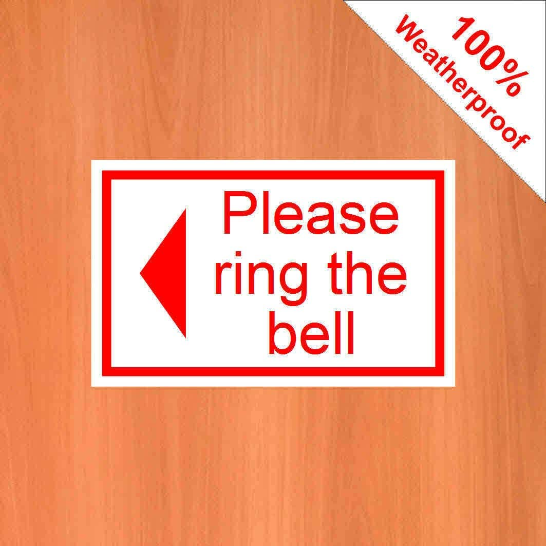 Black on White Background Please Ring The Bell with a Left Arrow 9408 self Adhesive Vinyl Sticker