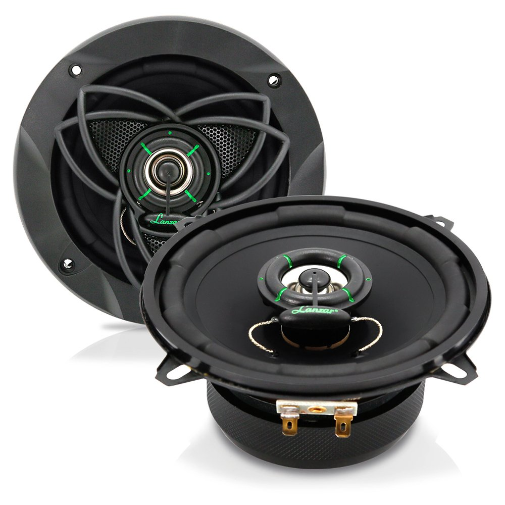 "Upgraded VX 5.25"" Pair 2-Way Speaker - Powerful 120 Watts Peak 4 Ohms 30 Oz Magnet Structure 55-20KHz Frequency Response w/ 1"" High Voice Coil and Poly-Mica Coated Woofer Cone - Lanzar VX520"