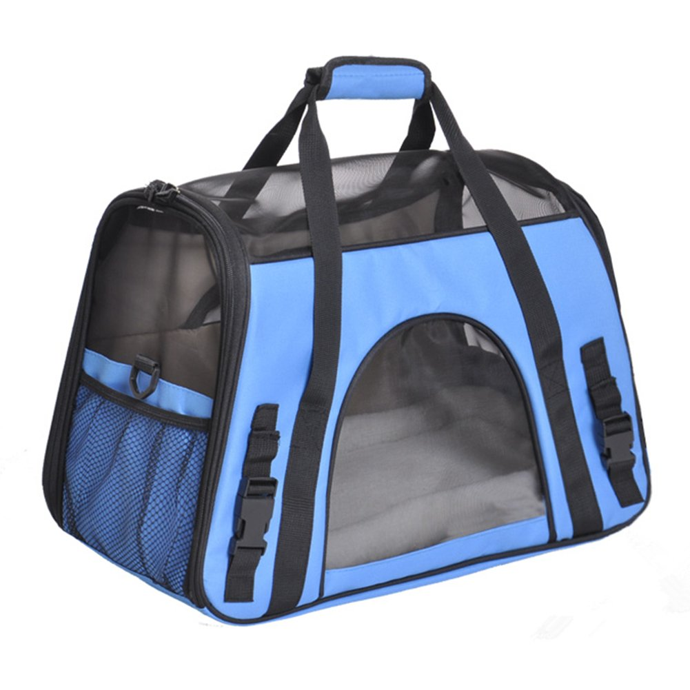 Soyan Deluxe Pet Travel Carrier, Airline Approved, Soft Side, Suitable for Cats and Small Dogs, Comes with Shoulder Strap L, Blue