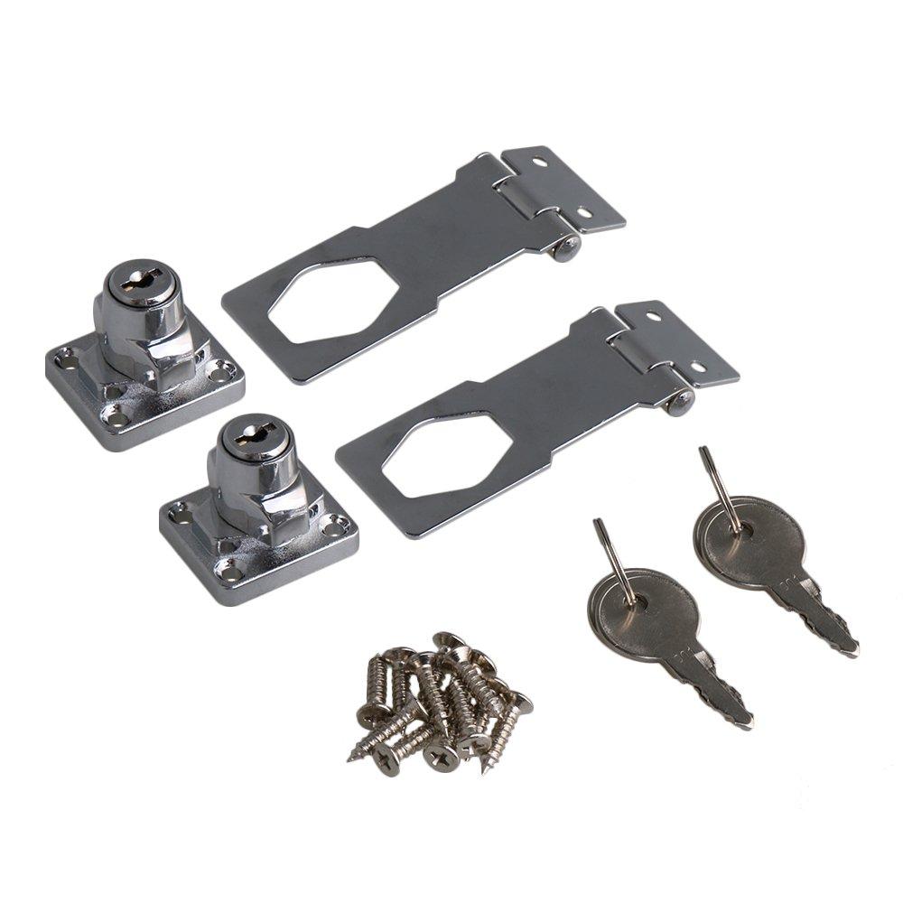 RDEXP 3Inch Length Silver Zinc Alloy Keyed Hasp Lock Twist Knob Keyed Locking Hasp w/Screw for Doors Cabinet Set of 2 by RDEXP