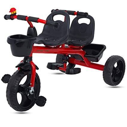 Buy Baybee 2 in 1 Twinker Bell Baby Tricycle Safety Double Seat with Basket  - Red Online at Low Prices in India - Amazon.in be6d371fd
