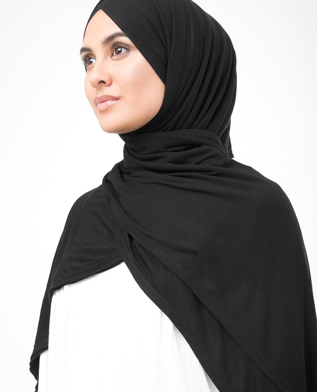InEssence Jet Black Viscose Jersey Scarf Women Girls Wrap Medium Size Hijab by InEssence (Image #2)
