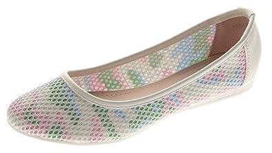 SDS Damen Ballerinas Flach Schuhe Weiß Bunt Mehrfarbig