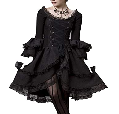 c8179dd34a5 Nite closet Gothic Dresses for Women Plus Size Lolita Steampunk Clothing  Victorian Vintage (Womens 10