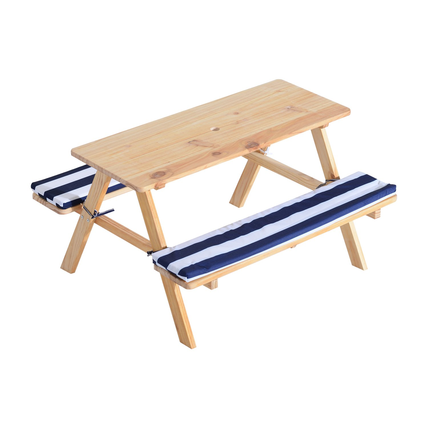 Festnight Wooden Outdoor Kids Picnic Table with Padded Benches