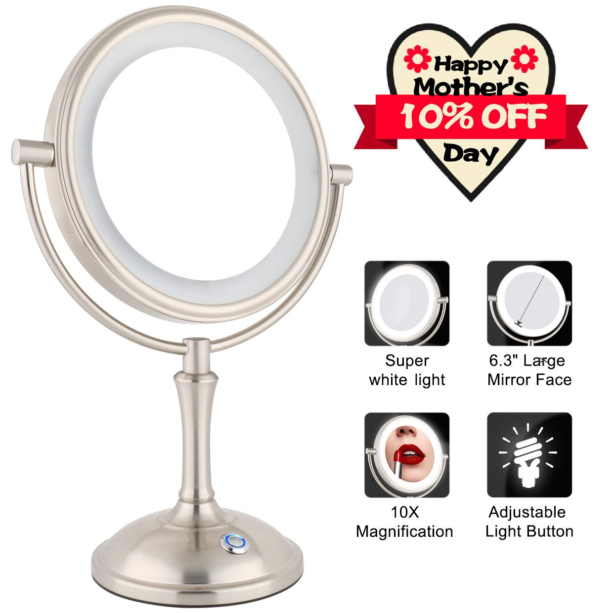 AmnoAmno Lighted Makeup Mirror, 10x Magnifying Vanity Mirror with 25 Piece Upgraded LED Light Inside, Touch Button Adjustable Light, 7.8'' Double Side 360 Degree Rotation Cosmetic Mirror