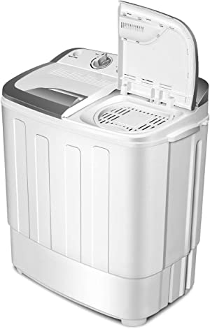 Portable Washer and Dryer Combo,SAFEPLUS Compact Mini Twin Tub Versatile Washing Machine with 8 lbs Washing &5 lbs Spin Dryer Load Cappacity Gravity Drain Pump and Drain Hose for Apartment (gray)