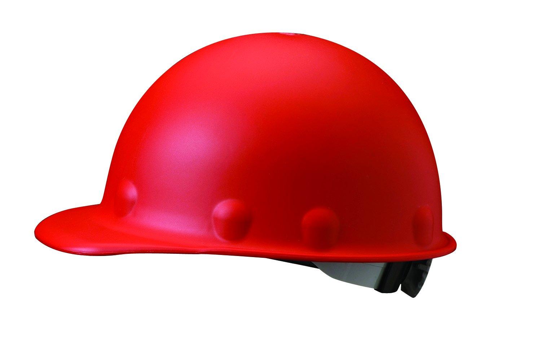 Fibre-Metal by Honeywell P2ARW15A000 Super Eight Ratchet Fiber Glass Cap Style Hard Hat, Red by Honeywell