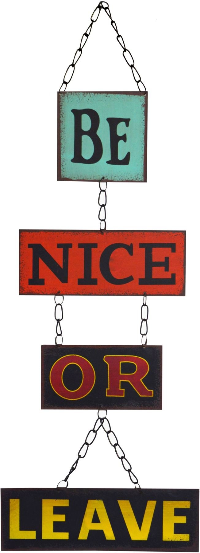 Nicola Spring Hanging Metal 4 Panel Wall Plaque - Be Nice Or Leave