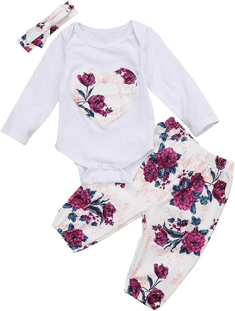 Pantaloni SCFEL Neonati Floreale Stampare Cuore Pagliaccetto Cime Fascia 3 Pezzi Set di Abbigliamento Outfits