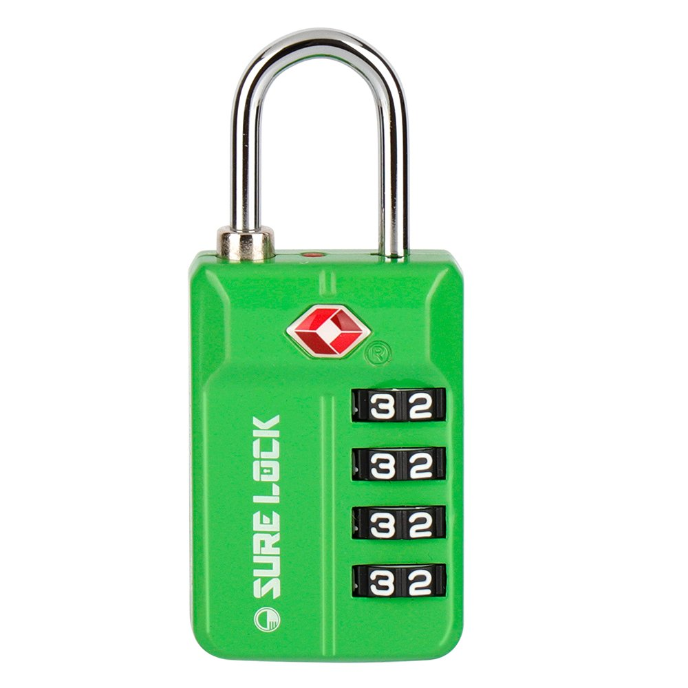 SURE LOCK TSA Compatible Travel Luggage Locks Inspection Indicator Easy Read Dials 1 2 4 Pack