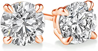 Plus Quality ScrewBack 14K from 0.04ct IGI Certified 0.70 ct /& up 2.00ct Round Diamond stud