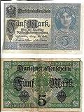 German Reich Currency Bill - Authentic Deutsche Darlehenskaffenfchein Funf Mark (5 Marks) - Dated: Berlin, August 1, 1917