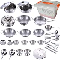 KEJIH 32pcs Kitchen Pretend Play Accessories ,Mini Stainless Steel Cookware Set with Portable Storage Box,Cooking…