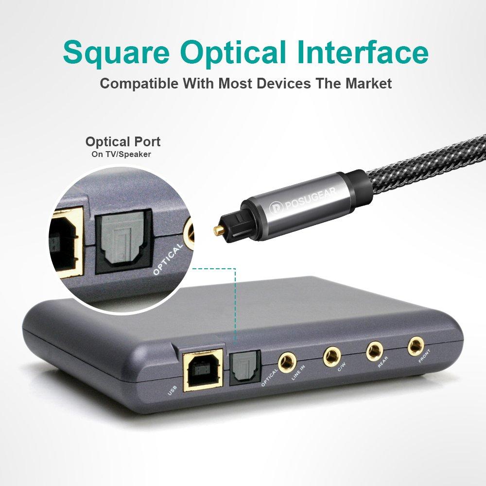 Cable Óptico de Audio Digital Toslink 2M, Posugear Nylon Trenzado HQ Platinum Cable de Fibra Óptica Compatible con PS4 / PS3, Xbox One, Wii, Sky Q, Sky HD, ...