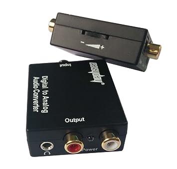 easyday Digital óptico coaxial a RCA conversor de audio analógico con Digital óptico Toslink y S