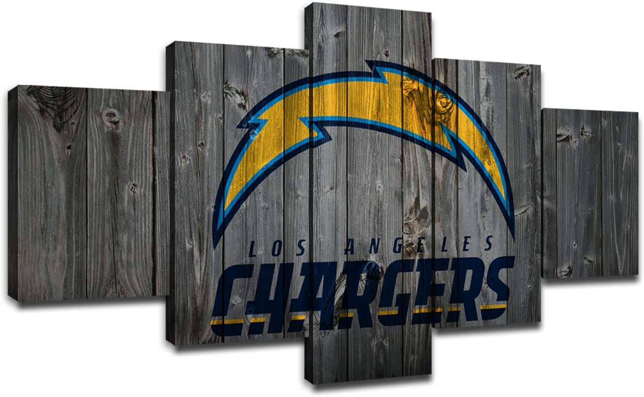 Los Angeles Chargers Poster Wall Decor for Home Painting 5 Piece Canvas Prints Wall Art Picture Modern Decoration for Bedroom Poster with Frame Ready to Hang(60''Wx32''H)