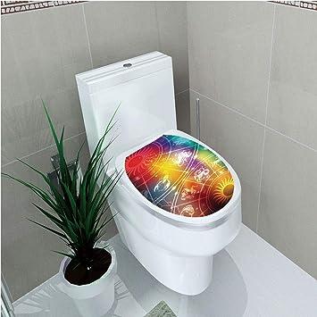 Amazon com: Toilet Custom Sticker,Astrology,Colorful Mystic