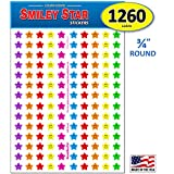 Pack of 1260 Happy Face Smiley Star Stickers, 3/4