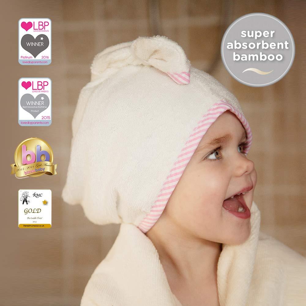 Cuddledry, Cuddletwist, asciugamano per capelli per bambini, bianco con bordo a righe rosa CHTPKS01