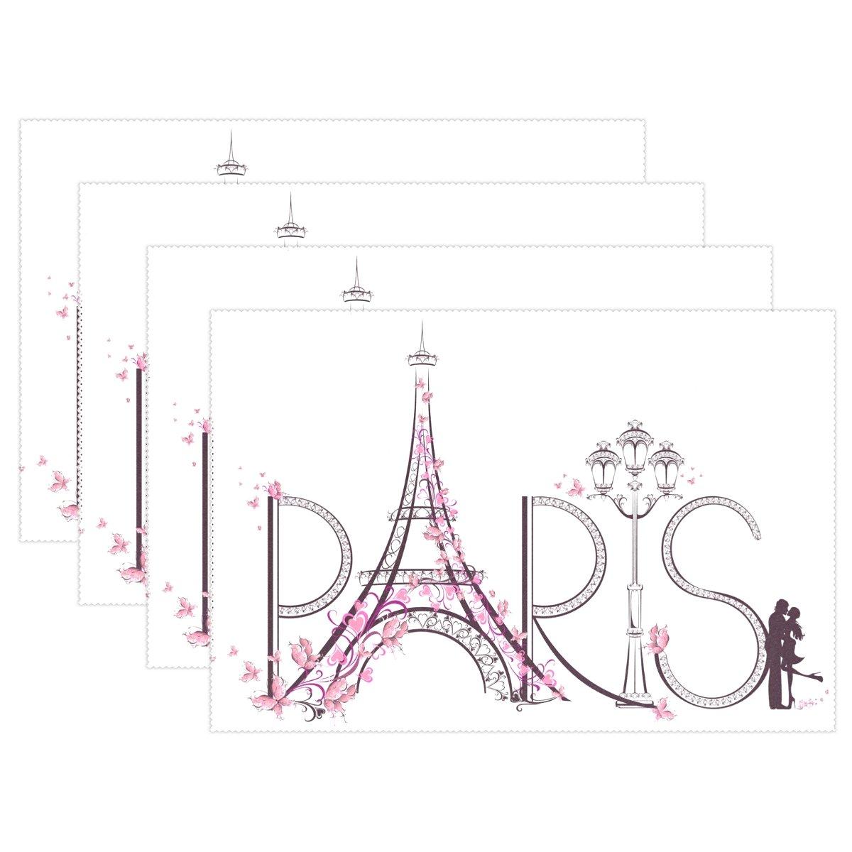 Romantic floralフランスパリエッフェル塔バタフライ耐熱表プレースマットStain Resistantのテーブルマット洗濯可能食べマットホームキッチン 1 マルチ1 B075YTRGL2